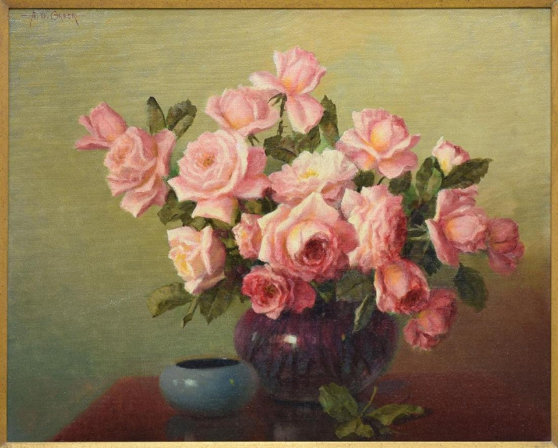 """A.D. GREER (1904-1998) PINK ROSES , 24""""x30"""""""