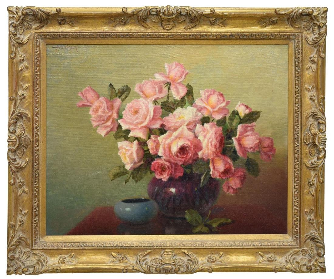 """A.D. GREER (1904-1998) PINK ROSES , 24""""x30"""" - 2"""