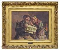 EUGENIO ZAMPIGHI 18591944 OLD COUPLE PAINTING