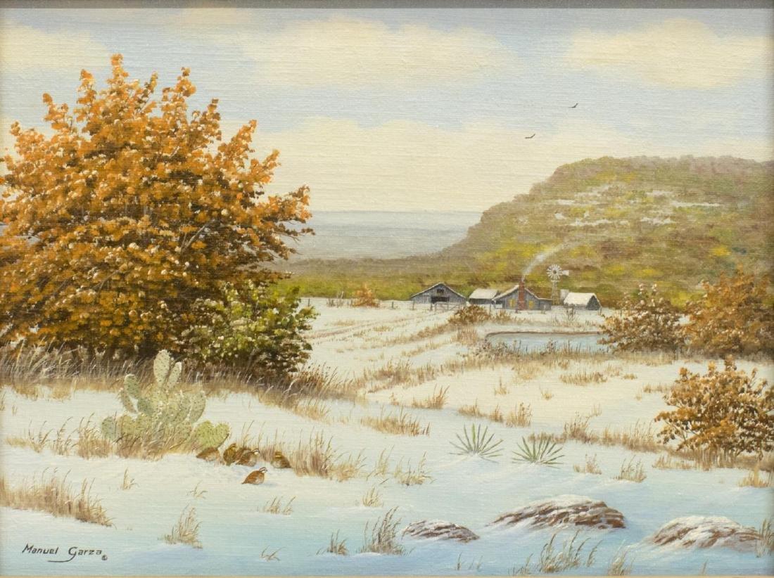 MANUEL GARZA (B. 1940) TEXAS HILL COUNTRY SNOW