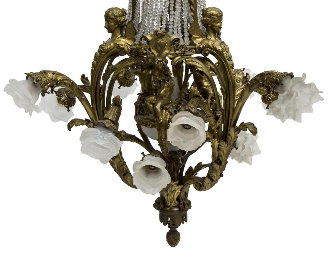 FRENCH BELLE EPOQUE GILT BRONZE 16-LT CHANDELIER