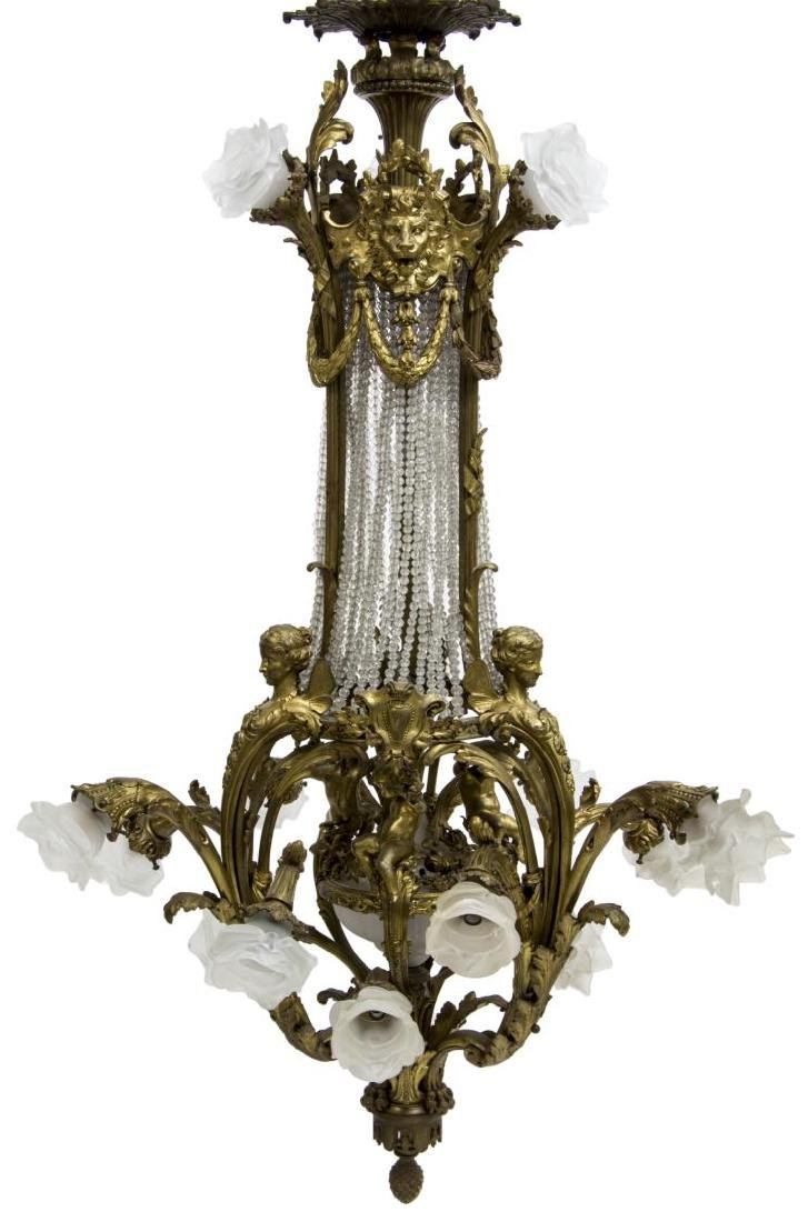 FRENCH BELLE EPOQUE GILT BRONZE 16-LT CHANDELIER - 2