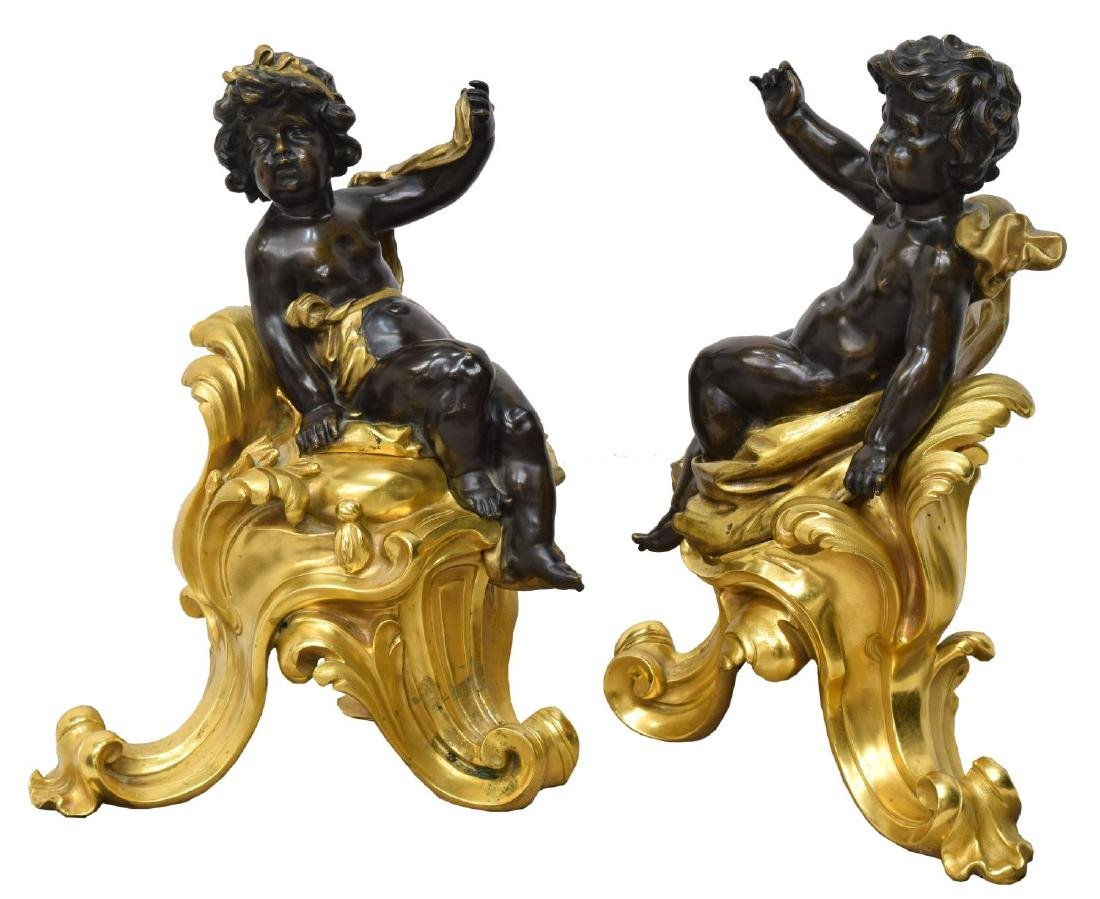 (PAIR) FRENCH DORE BRONZE FIGURAL CHENETS