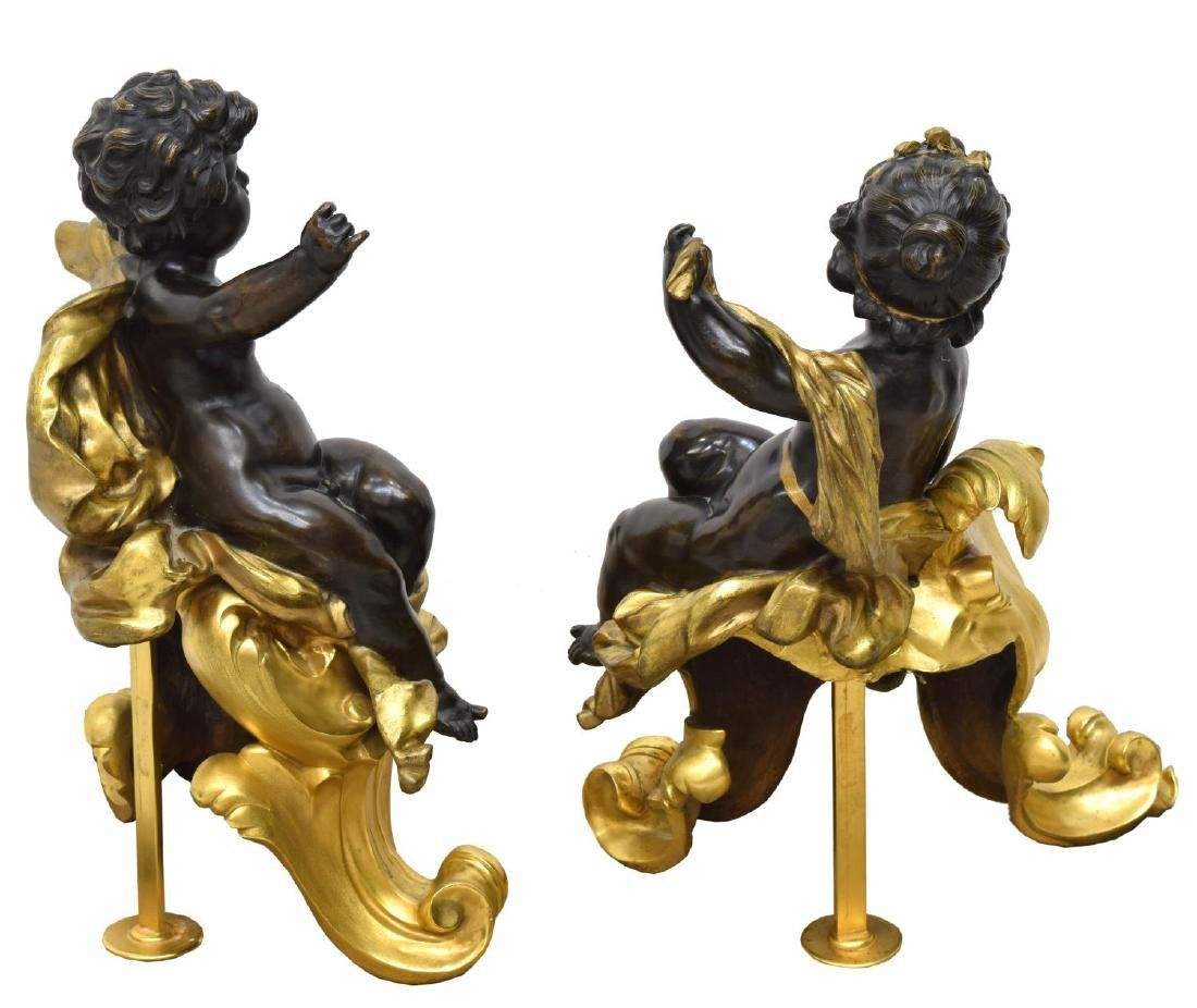 (PAIR) FRENCH DORE BRONZE FIGURAL CHENETS - 2