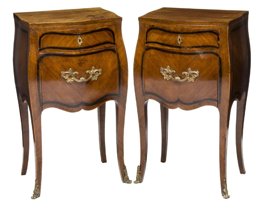 (2) DUCROT ITALIAN LOUIS XV STYLE BEDSIDE CABINETS