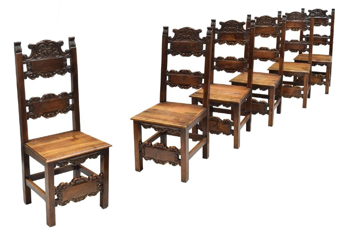(6) BAROQUE STYLE SCROLL & FOLIATE SIDE CHAIRS