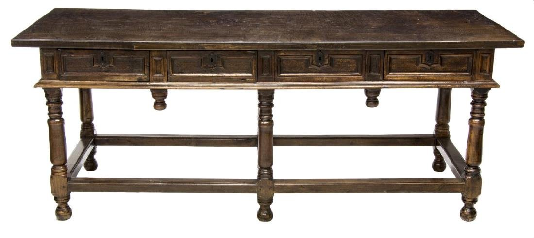18TH C. SPANISH BAROQUE CHESTNUT REFECTORY TABLE - 2