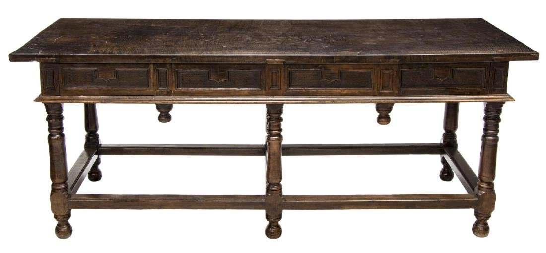 18TH C. SPANISH BAROQUE CHESTNUT REFECTORY TABLE - 5