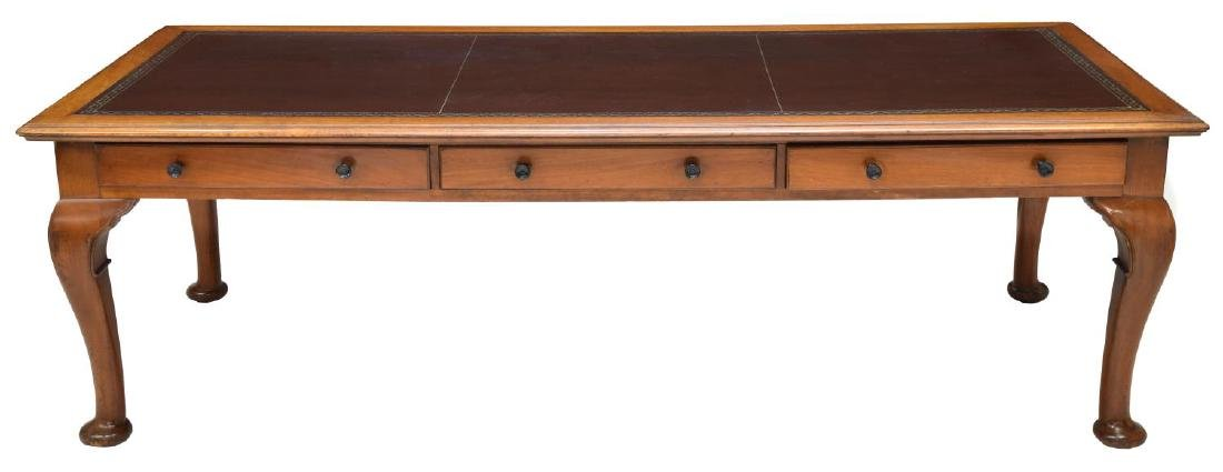 LEATHER TOP PARTNERS DESK OR CONFERENCE TABLE - 4
