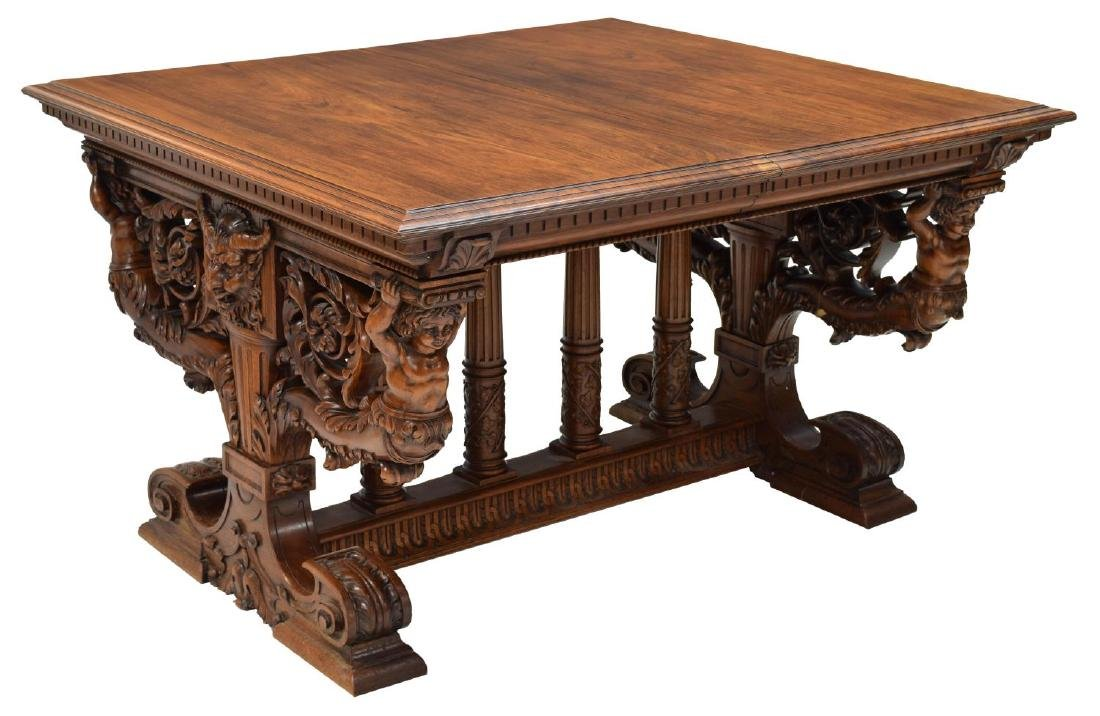 HIGHLY CARVED FRENCH REANISSANCE REVIVAL TABLE