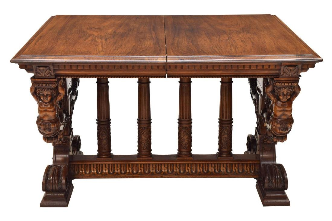 HIGHLY CARVED FRENCH REANISSANCE REVIVAL TABLE - 2