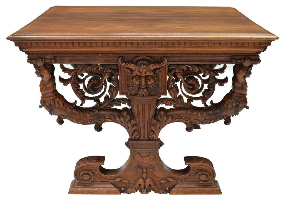 HIGHLY CARVED FRENCH REANISSANCE REVIVAL TABLE - 3