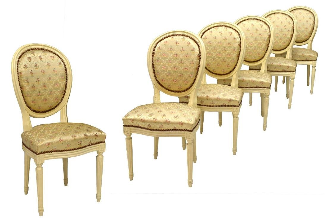 (6) FRENCH LOUIS XVI STYLE ROUND-BACK CHAIRS