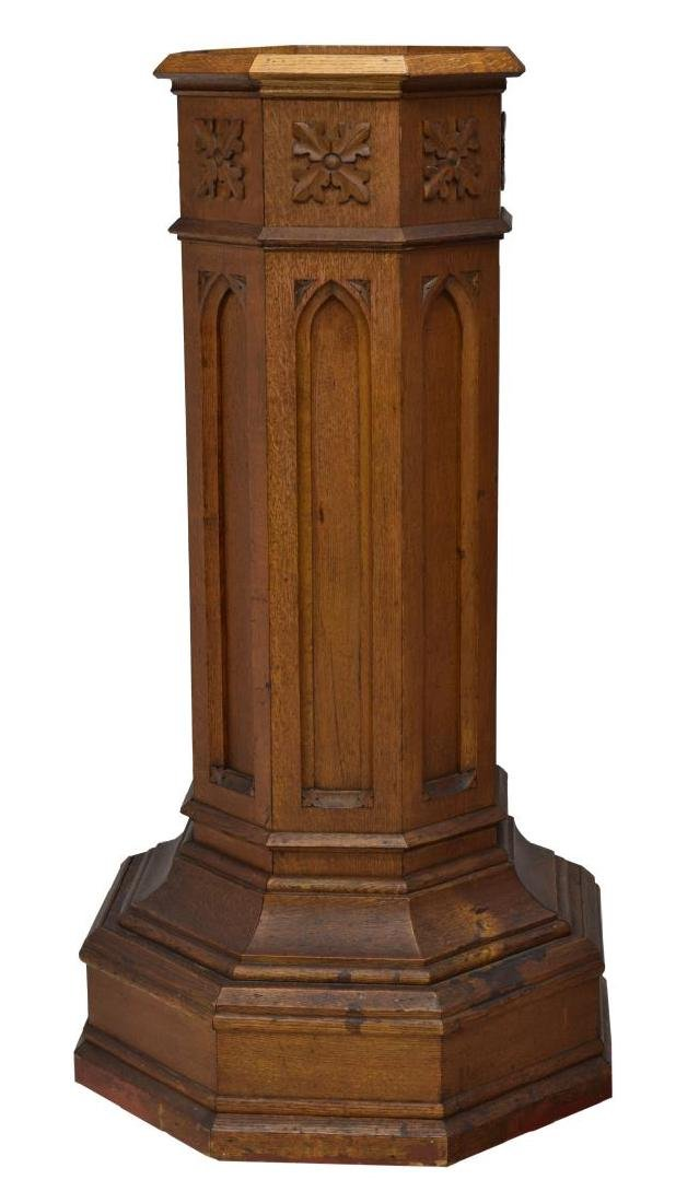 AMERICAN OAK GOTHIC REVIVAL BAPTISMAL STAND