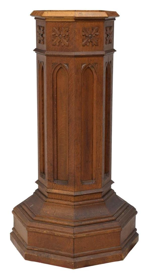 AMERICAN OAK GOTHIC REVIVAL BAPTISMAL STAND - 2