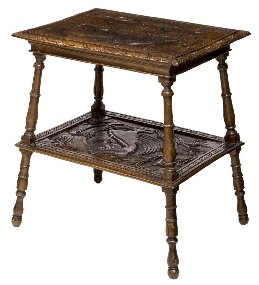 ITALIAN RENAISSANCE REVIVAL CARVED TWO-TIER TABLE