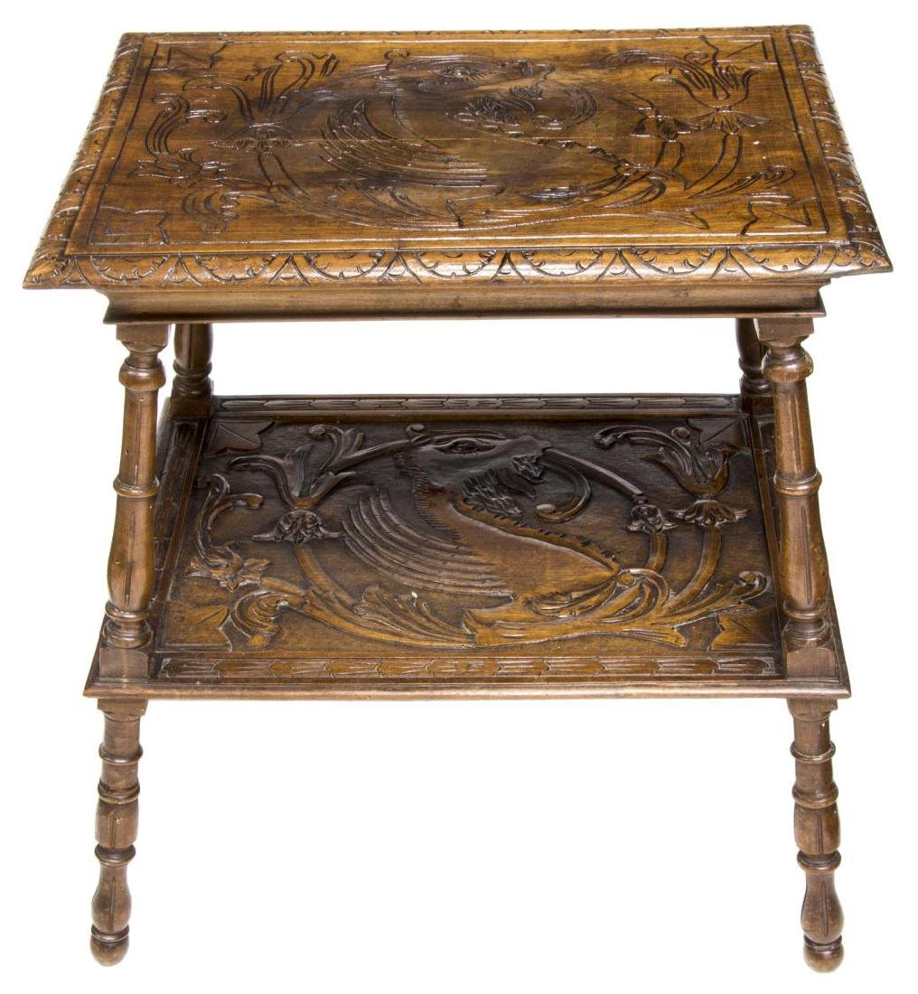 ITALIAN RENAISSANCE REVIVAL CARVED TWO-TIER TABLE - 2