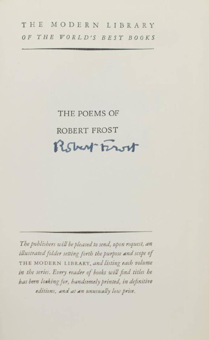 "(3) AUTOGRAPHED BOOK, ""THE POEMS OF ROBERT FROST"" - 3"