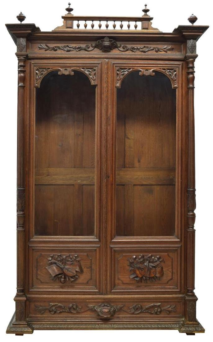 CONTINENTAL CARVED OAK GLAZED DOOR BOOKCASE - 2