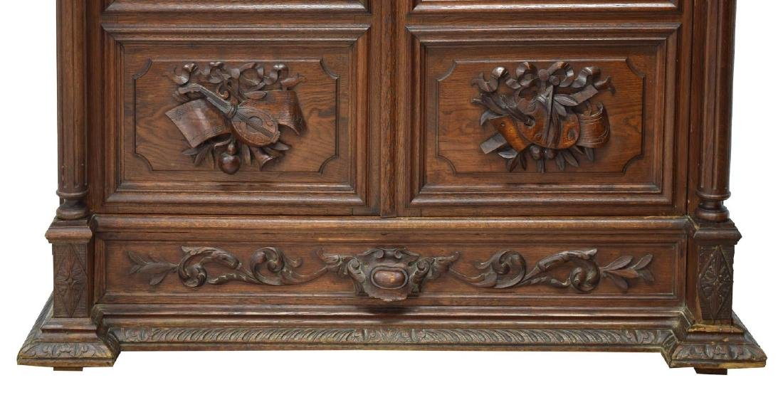 CONTINENTAL CARVED OAK GLAZED DOOR BOOKCASE - 3