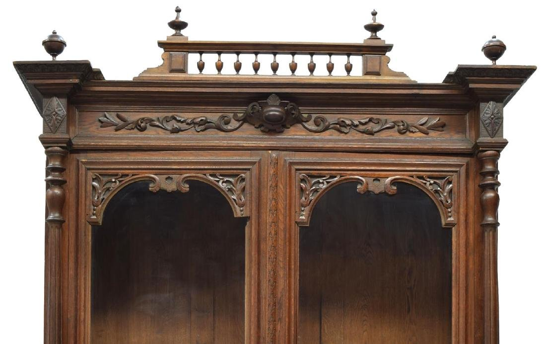 CONTINENTAL CARVED OAK GLAZED DOOR BOOKCASE - 4
