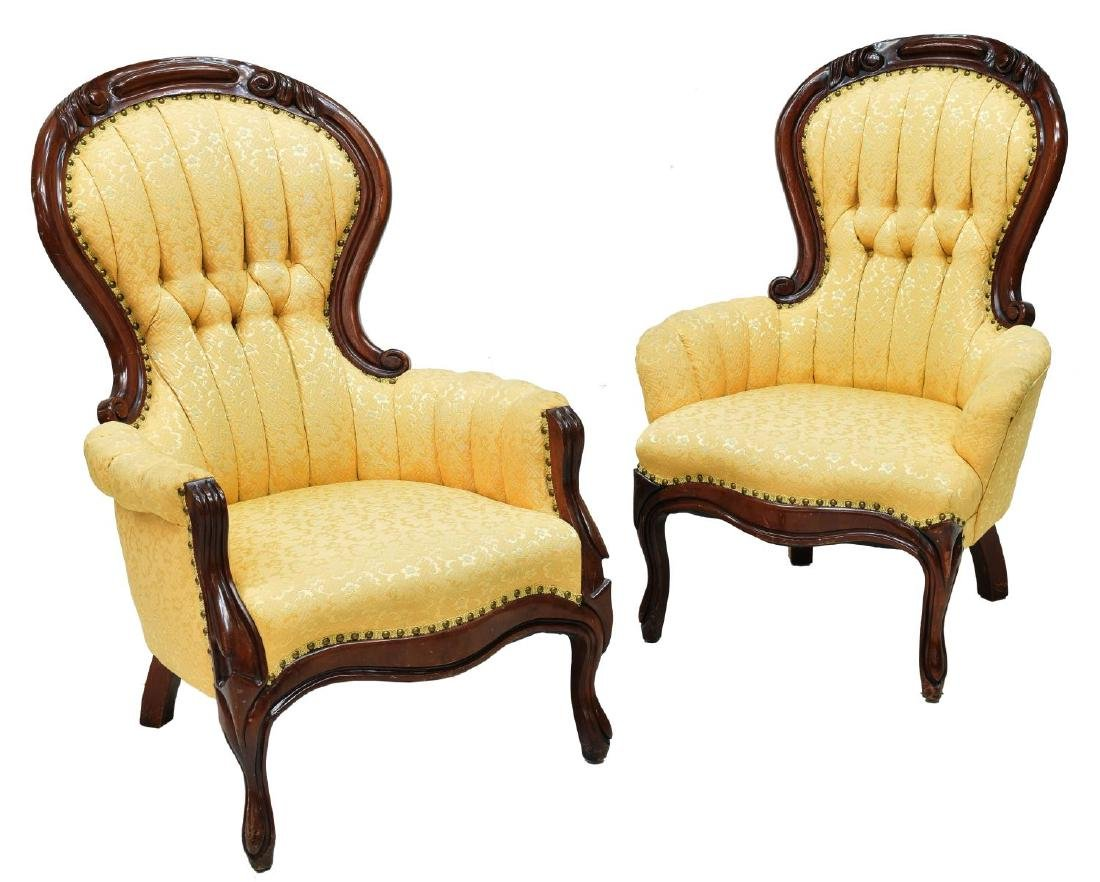 (2) VICTORIAN LADIES & GENTS CHAIRS