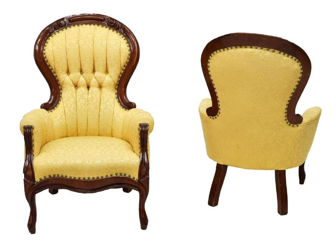 (2) VICTORIAN LADIES & GENTS CHAIRS - 2