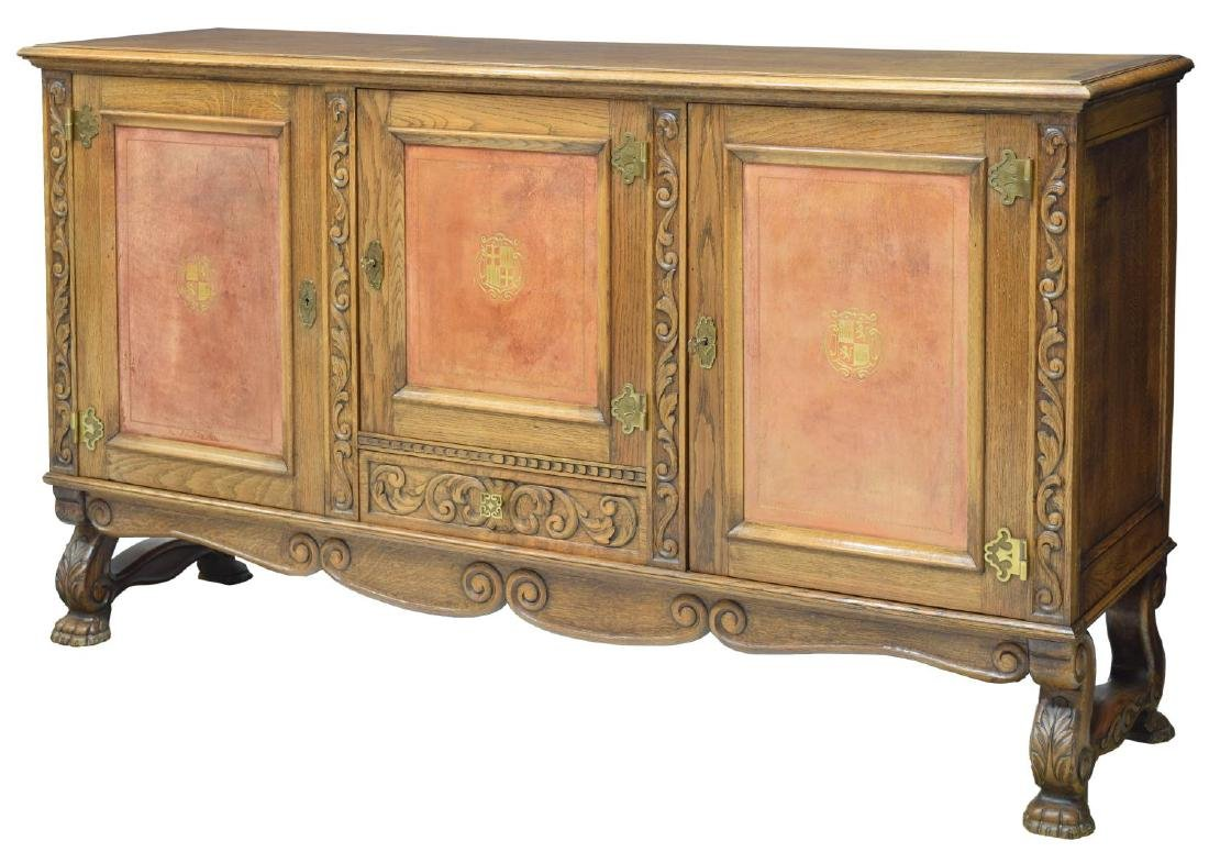 SPANISH OAK LEATHER PANELED SIDEBOARD