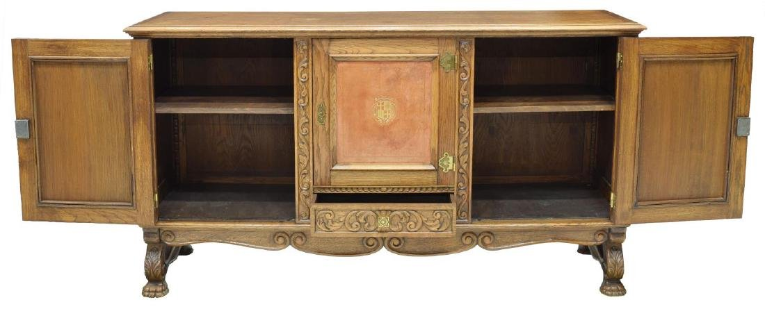 SPANISH OAK LEATHER PANELED SIDEBOARD - 2