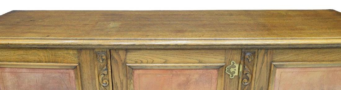 SPANISH OAK LEATHER PANELED SIDEBOARD - 4