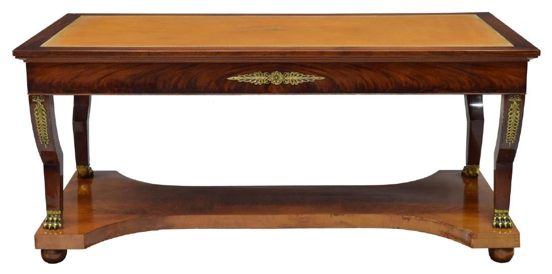 FRENCH EMPIRE STYLE LEATHER-TOP LIBRARY TABLE - 3