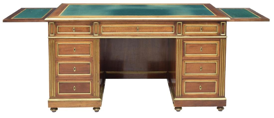 FRENCH MAHOGANY BRASS ACCENTED WRITING DESK - 3