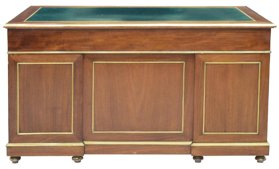 FRENCH MAHOGANY BRASS ACCENTED WRITING DESK - 4