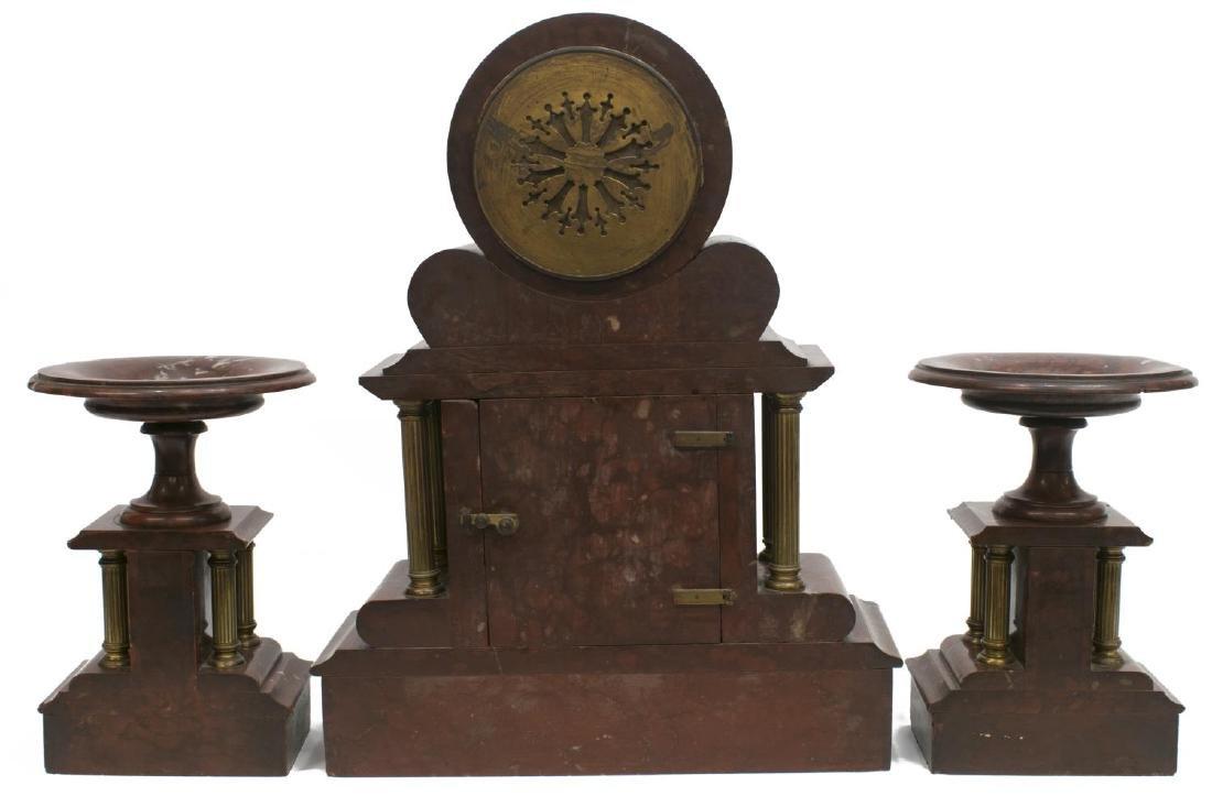NAPOLEON III PERIOD MARBLE MANTEL CLOCK, GARNITURE - 5