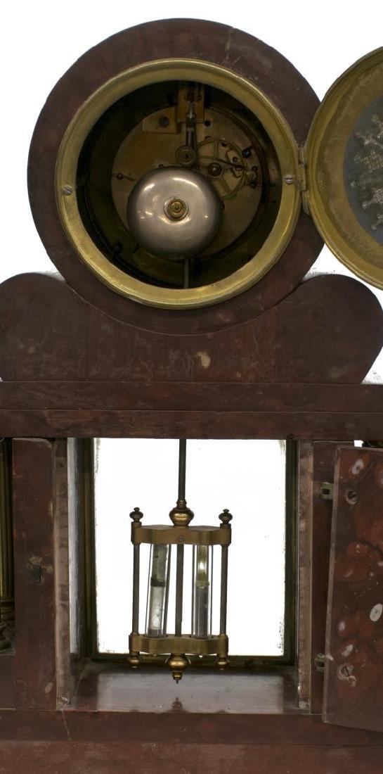 NAPOLEON III PERIOD MARBLE MANTEL CLOCK, GARNITURE - 6