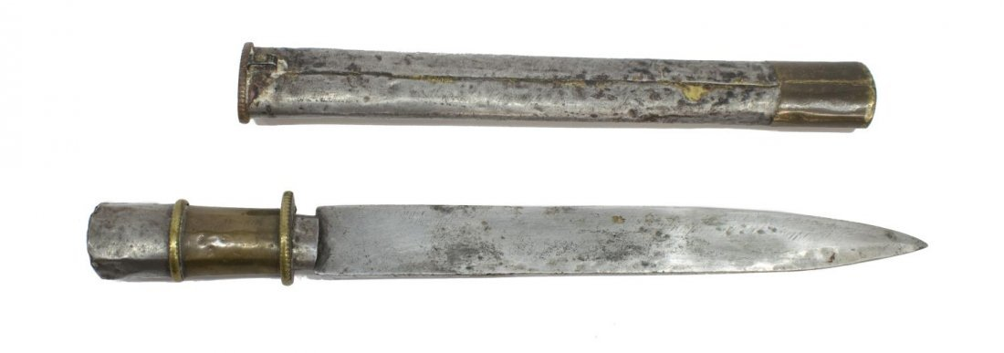 "(2) ANTIQUE BHUTAN DAGGERS, 8"" & 10"" BLADES - 4"