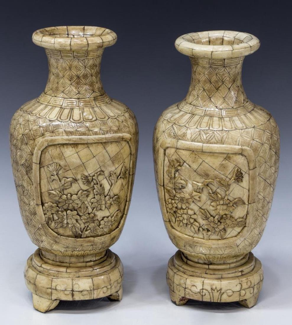 (2) CHINESE CARVED BONE VENEERED VASE ON STAND