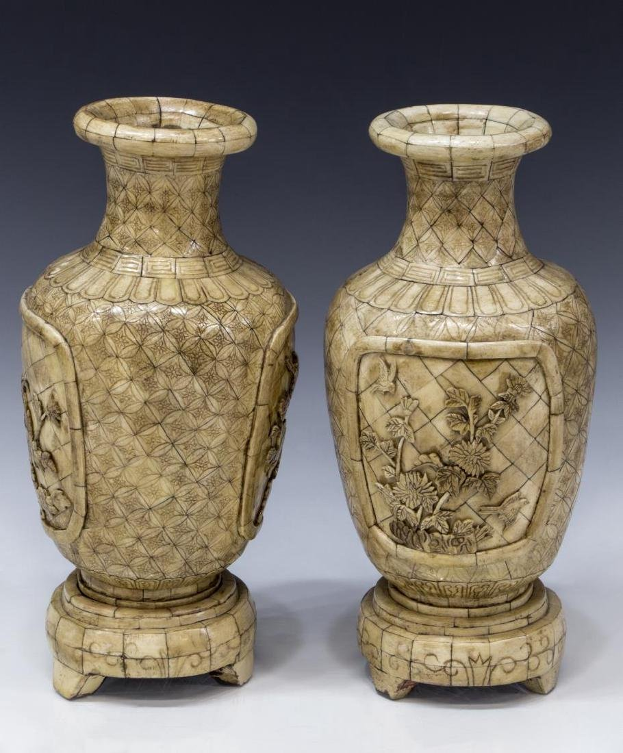 (2) CHINESE CARVED BONE VENEERED VASE ON STAND - 2