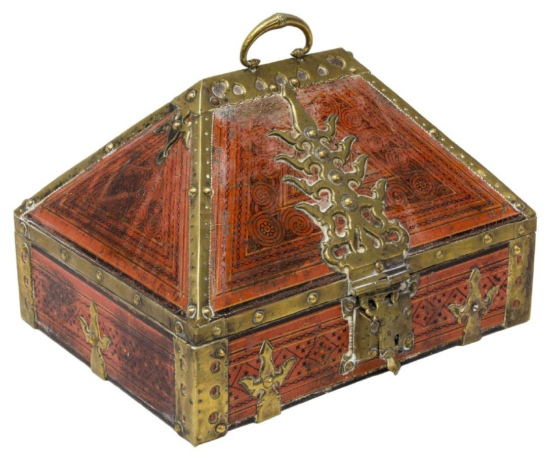 ANTIQUE ARABESQUE & BRASS MOUNTED TABLE BOX, INDIA