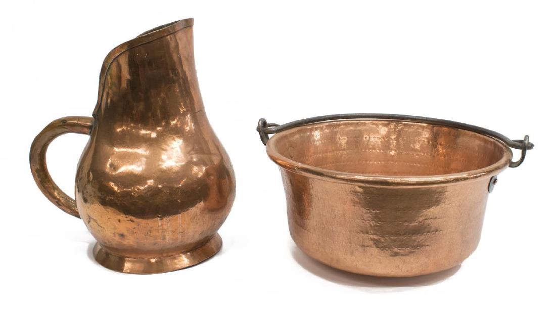 (2) OVERSIZED ANTIQUE FRENCH COPPER POT & PITCHER