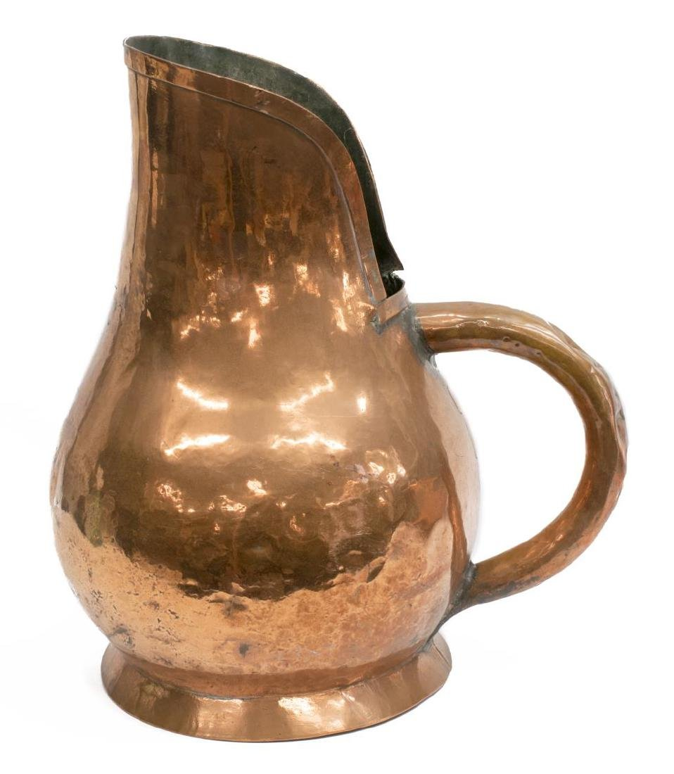 (2) OVERSIZED ANTIQUE FRENCH COPPER POT & PITCHER - 2
