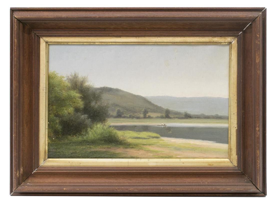 ATTRIB. MAX EGLAU (1825-1896) HILLS, LAKE PAINTING - 2