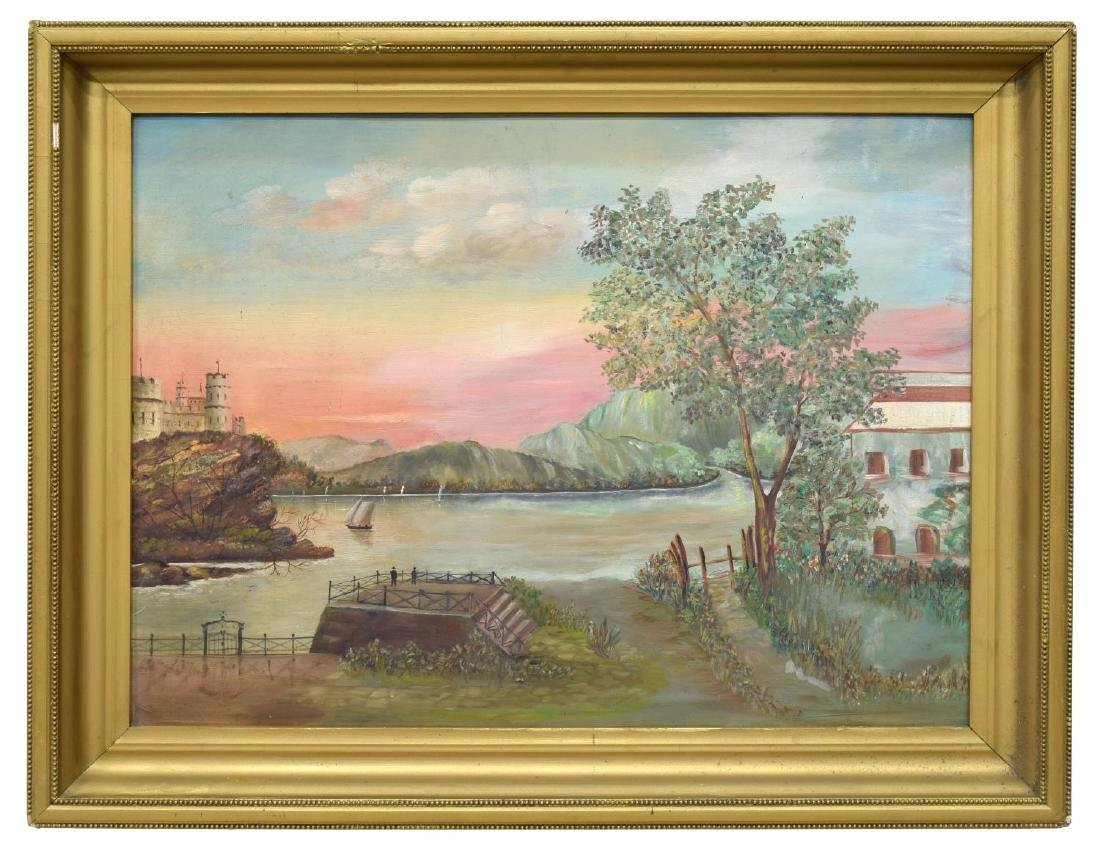 FRAMED OIL ON BOARD PAINTING, VIEW OF WATERFRONT