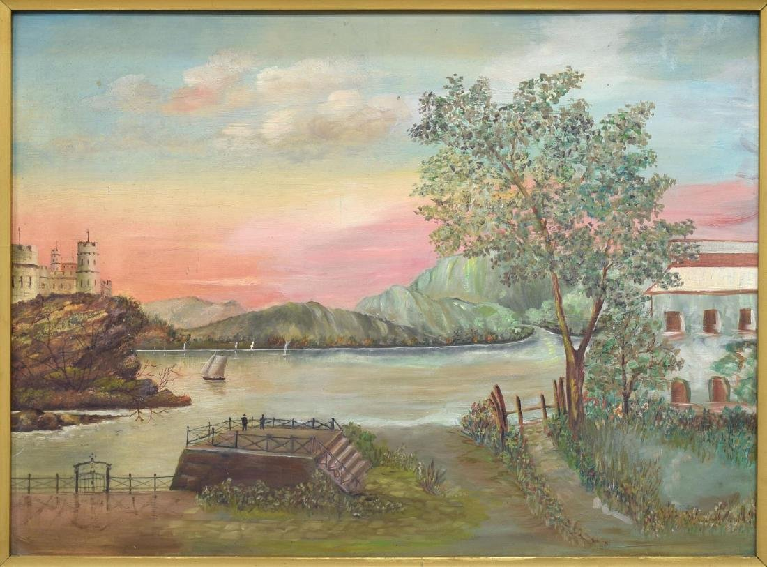 FRAMED OIL ON BOARD PAINTING, VIEW OF WATERFRONT - 2