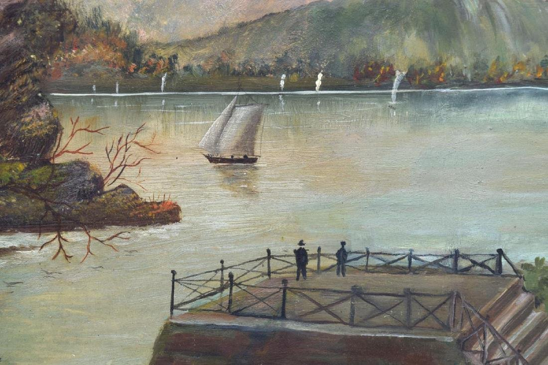 FRAMED OIL ON BOARD PAINTING, VIEW OF WATERFRONT - 3
