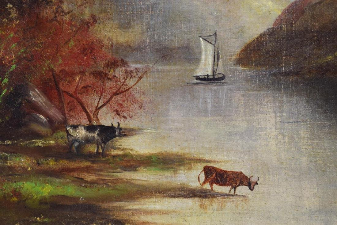 FRAMED OIL ON CANVAS PAINTING, LANDSCAPE WITH COWS - 3