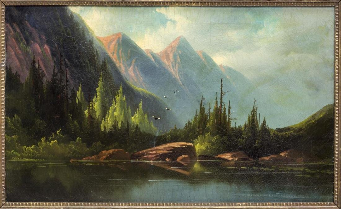 FRAMED PAINTING, MOUNTAINS & LAKE
