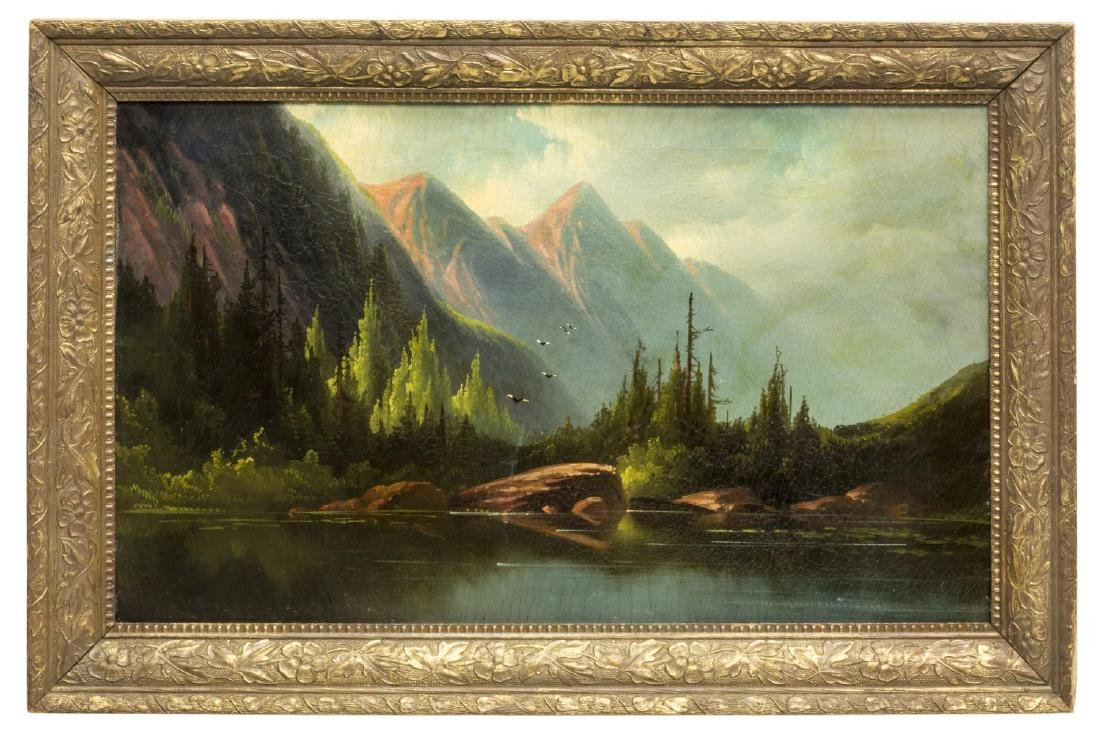 FRAMED PAINTING, MOUNTAINS & LAKE - 2