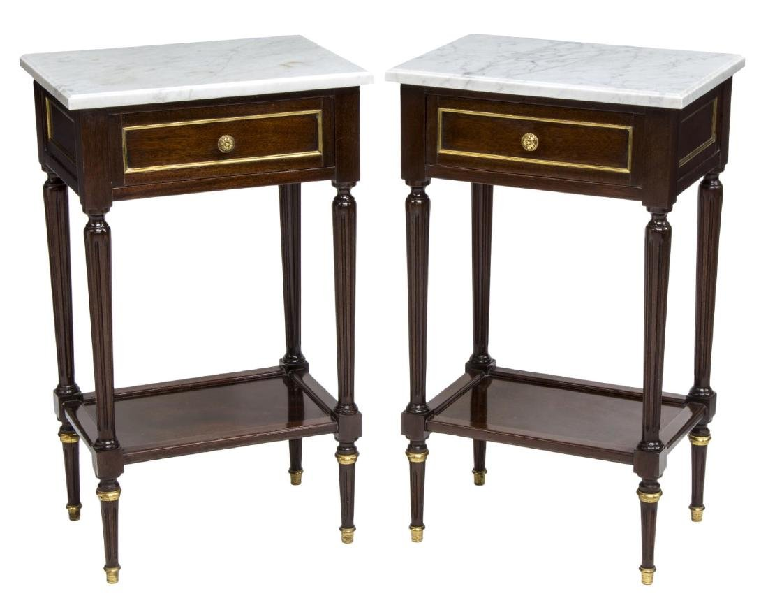 (2) LOUIS XVI STYLE MAHOGANY MARBLE TOP NIGHTSTAND