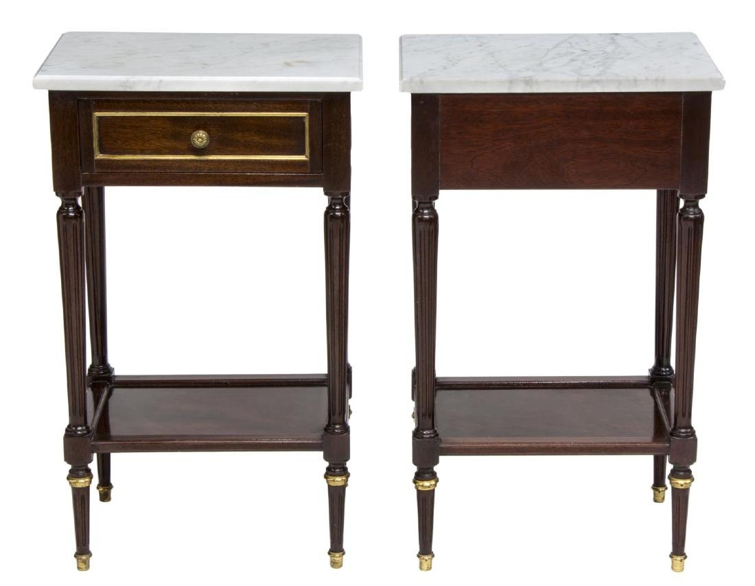 (2) LOUIS XVI STYLE MAHOGANY MARBLE TOP NIGHTSTAND - 2